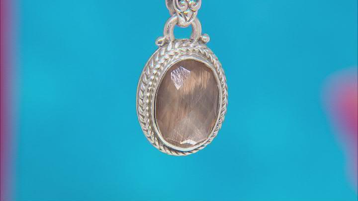 Metallic Bronze Wood Quartz Triplet Silver Pendant 3.45ct