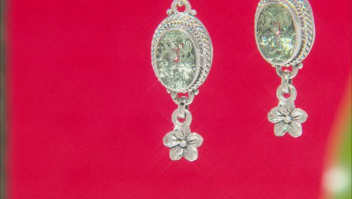 Green Prasiolite Sterling Silver Earrings 5.62ctw