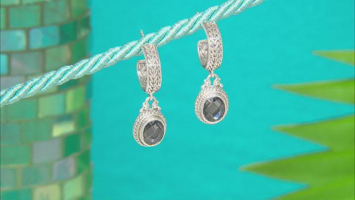 Black Knight™ Quartz Silver Earrings 3.40ctw