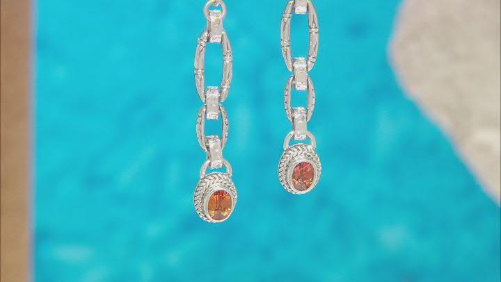 Orange Lab Created Sapphire Silver Earrings 1.86ctw