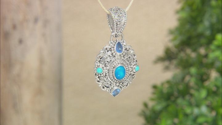 Paraiba Color Opal, Topaz, & Turquoise Silver Pendant .86ctw