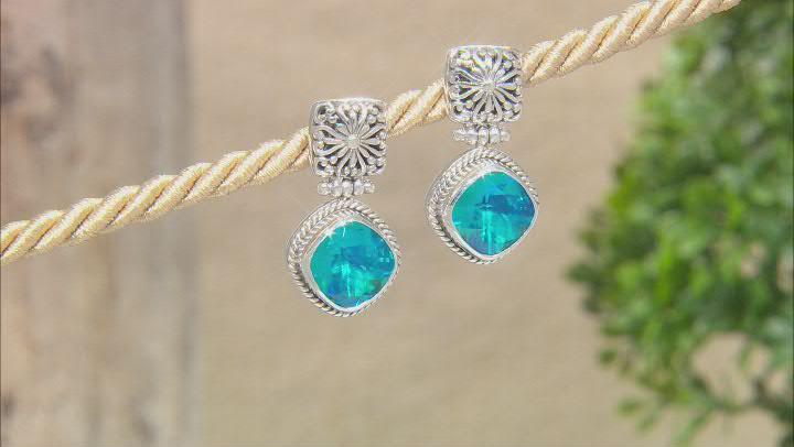 Rainbow Paraiba Color Quartz Triplet Silver Earrings