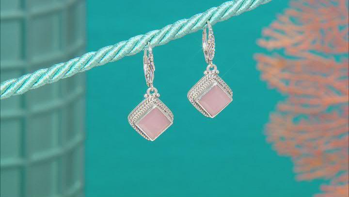 Ballet Blush Quartz Silver Earrings