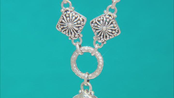 Blue Sapphire Silver Necklace .04ctw