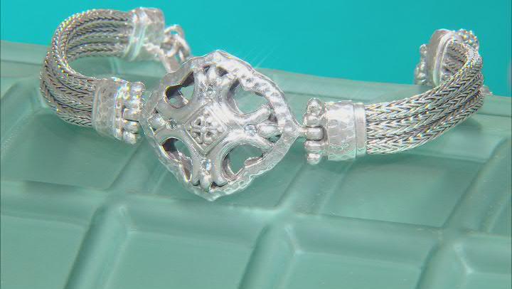 Blue Sapphire Sterling Silver Bracelet .04ctw
