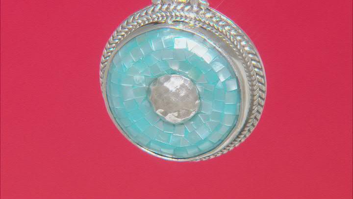 Aqua Mosaic Mother-of-Pearl Silver Enhancer Pendant