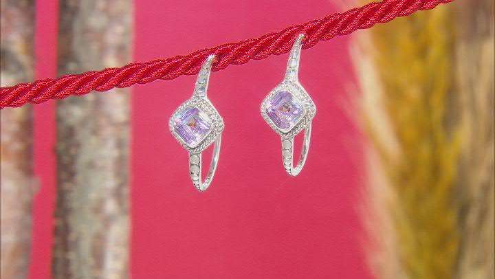 Pink Vapor™ Quartz Silver Hoop Earrings 3.70ctw