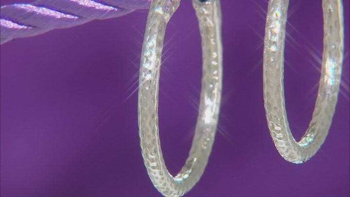 30.5mm Sterling Silver Hammered Hoop Earrings