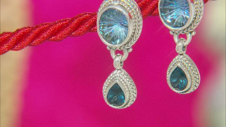 Blueicious™ Quartz & London Blue Topaz Silver Earrings 10.38ctw