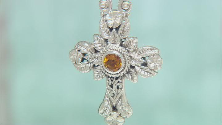 Yellow Citrine Sterling Silver Frangipani Cross Pendant .68ct