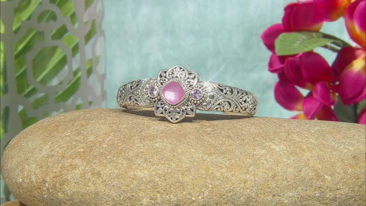 Pink Mother-of-Pearl Quartz Triplet, Topaz Silver Bracelet 1.16ctw