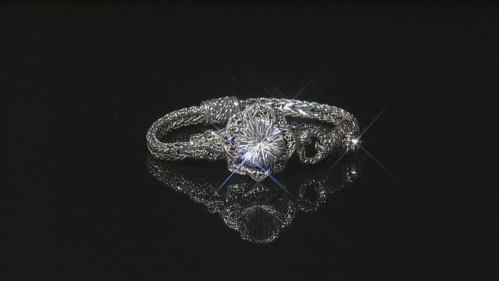 White Quartz Sterling Silver Flower Bracelet 5.93ctw