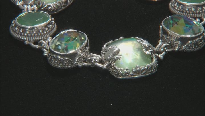 Green Serpentine Triplet Silver Frog Bracelet 9.00ctw