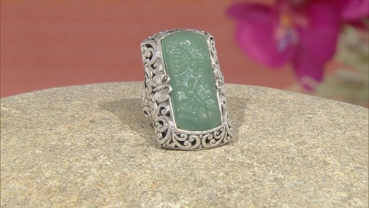 Green Aventurine Quartz Butterfly Silver Ring