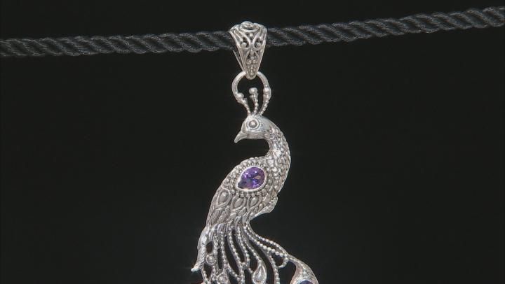 Talkative™ Mystic Topaz® Silver Peacock Pendant 4.20ctw