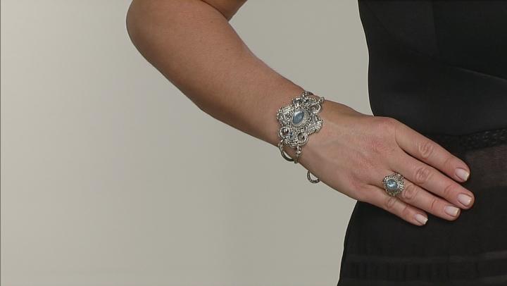 Blue Quartz Triplet Silver Bracelet 1.00ctw