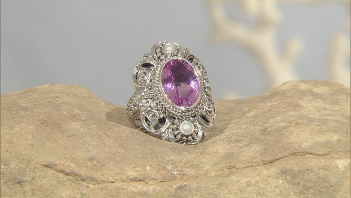 Pink Kunzite Color Quartz Triplet Silver Ring