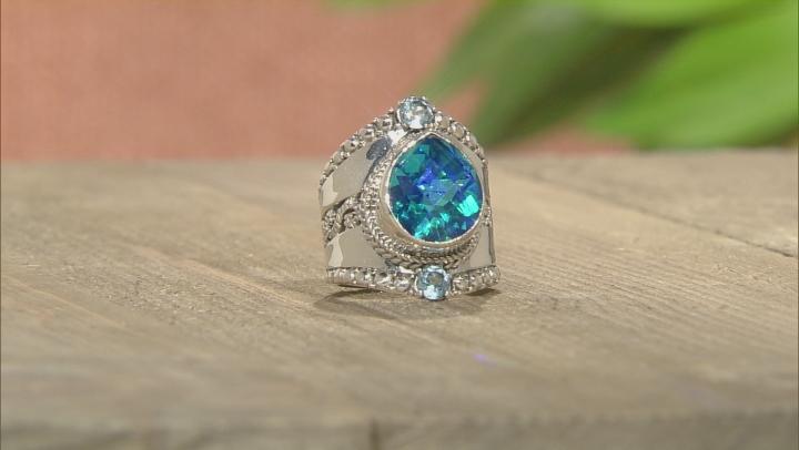 Blue Caribbean Quartz Triplet Silver Ring .50ctw
