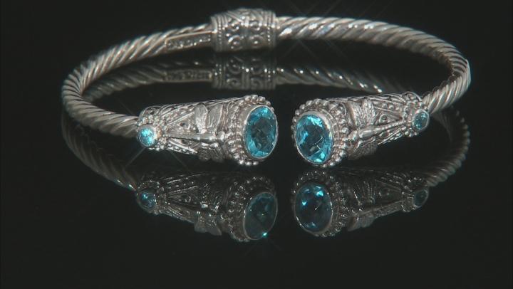 Swiss Blue Topaz Silver Dragonfly Bracelet 4.38ctw