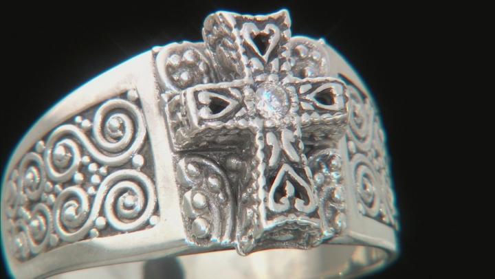 White Single Diamond Accent Silver Cross Ring .03ct