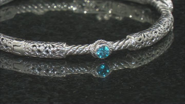 Blue Topaz Rhodium Over Sterling Silver Bracelet 0.22ct