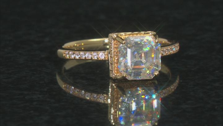 White Fabulite Strontium Titanate And White Zircon 10k Yellow Gold Ring 3.11ctw