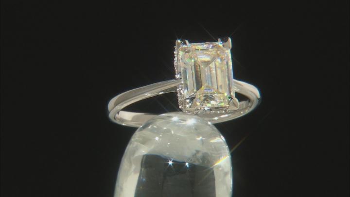 White Fabulite Strontium Titanate And White Zircon 10k White Gold Ring 3.87ctw.