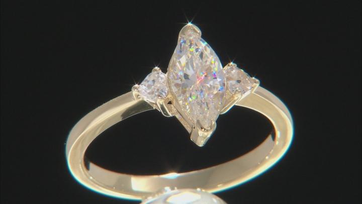 Fabulite Strontium Titanate And White Zircon 10k Yellow Gold Ring 1.56ctw.