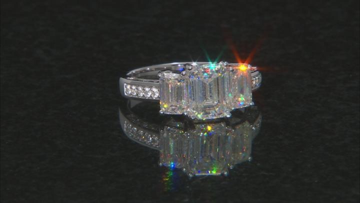 Fabulite Strontium Titanate And White Zircon 10k White Gold Ring 3.81ctw.