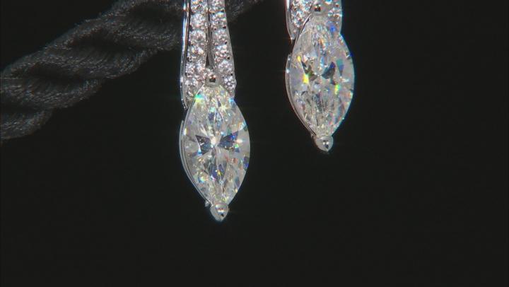 Fabulite Strontium Titanate And White Zircon 10k White Gold Earrings 1.79ctw.