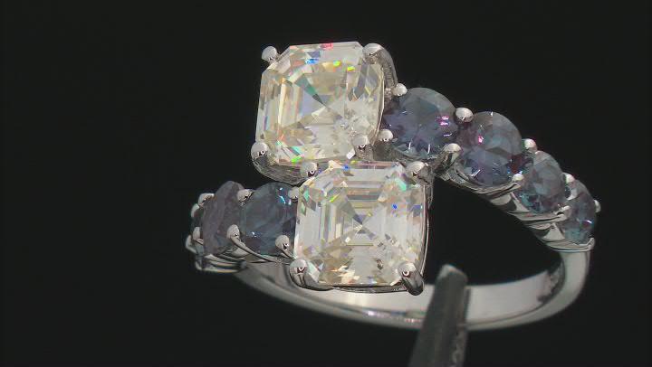 Fabulite Strontium Titanate And Lab Alexandrite Rhodium Over Silver Ring 8.52ctw.