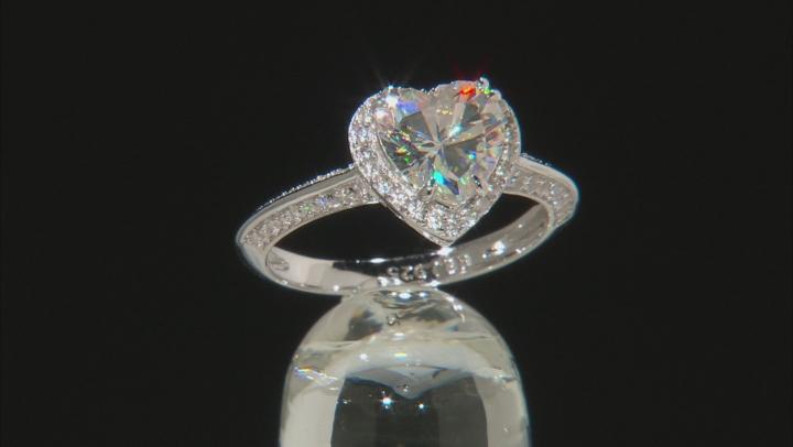 Fabulite Strontium Titanate And White Zircon Rhodium Over Silver Ring 3.44ctw
