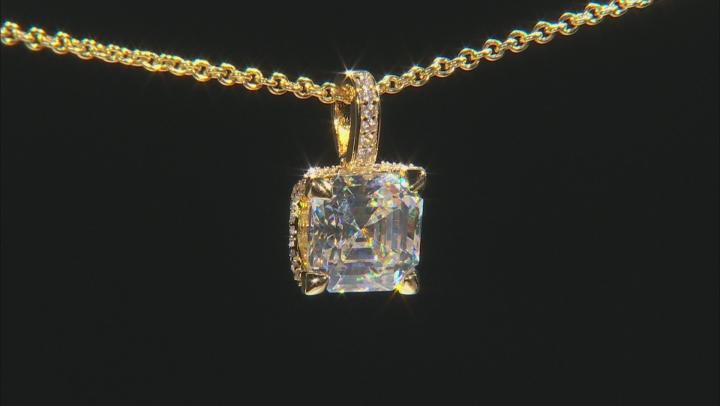 White Fabulite Strontium And White Zircon 18k Yellow Gold Over Silver Pendant 4.21ctw