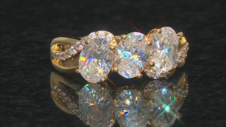White Fabulite Strontium Titanate And White Zircon 18k Yellow Gold Over Silver Ring 3.21ctw