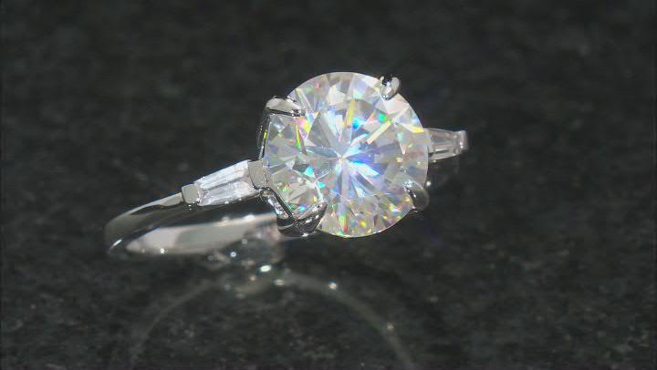 Fabulite Strontium Titanate And White Zircon Rhodium Over Silver Ring 4.94ctw