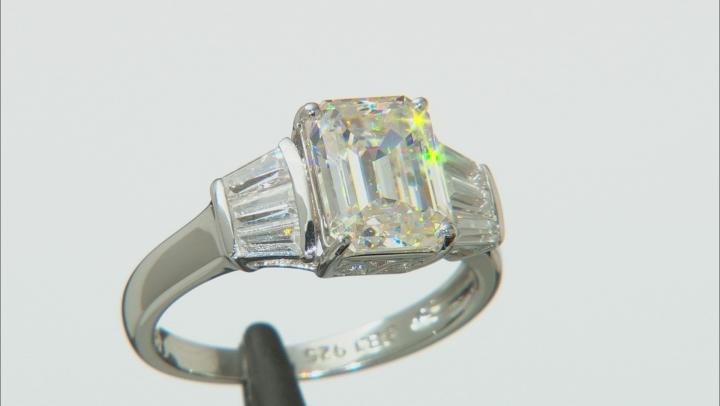 Fabulite Strontium Titanate And White Zircon Rhodium Over Silver Ring 4.27ctw