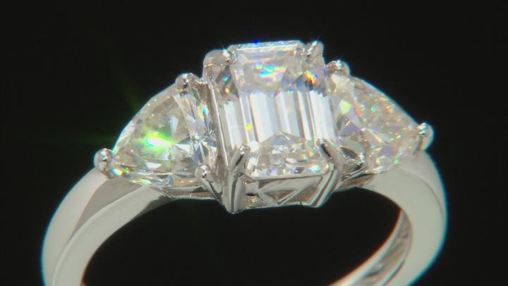 Fabulite Strontium Titanate  Rhodium Over Silver Ring 3.97ctw