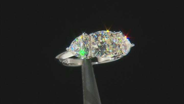 White Fabulite Strontium Titanate  Rhodium Over Silver Ring 3.78ctw