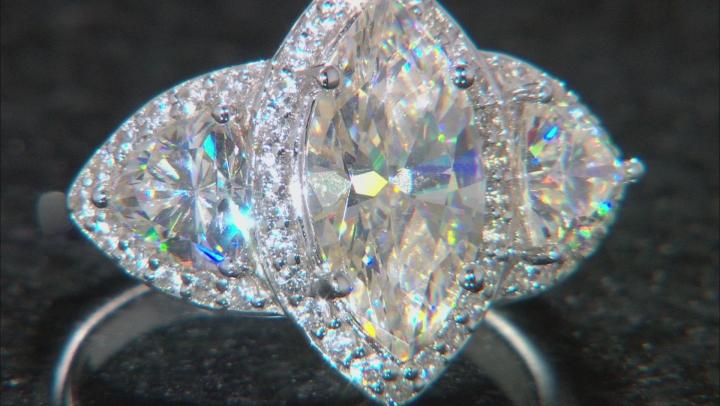 Fabulite Strontium Titanate And White Zircon Rhodium Over Silver Ring 5.71ctw