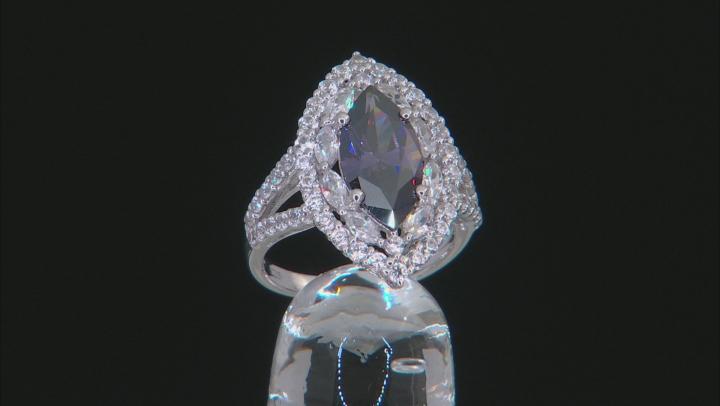 Purple Fabulite Strontium Titanate And White Zircon Rhodium Over Silver Ring 5.53ctw