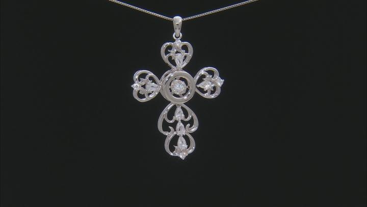Fabulite Strontium Titanate and white zircon rodium over silver cross pendant 3.28ctw.
