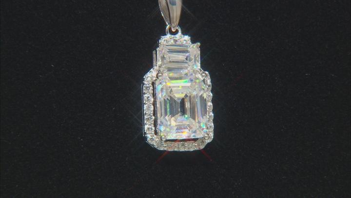 Fabulite Strontium Titanate and white zircon rhodium over sterling silver pendant 4.26ctw