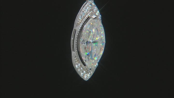 Fabulite Strontium Titanate and white zircon rhodium over sterling silver pendant 3.61ctw.
