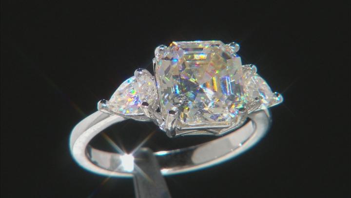 Fabulite Strontium Titanate  rhodium over sterling silver ring 5.75ctw