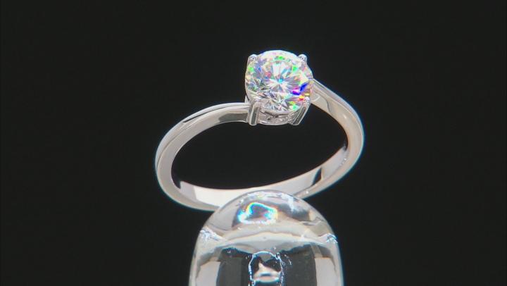 Fabulite Strontium Titanate and white zircon rhodium over sterling silver ring 1.77ctw