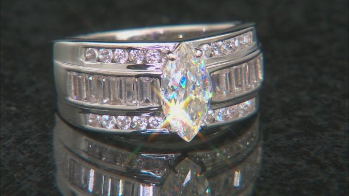 Fabulite Strontium Titanate and white zircon rhodium over sterling silver ring 2.31ctw.