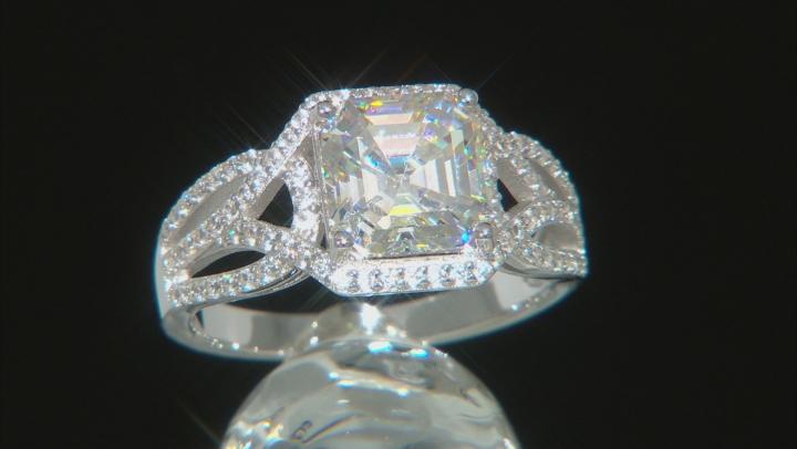Fabulite Strontium Titanate and white zircon rhodium over sterling silver ring 3.72ctw.