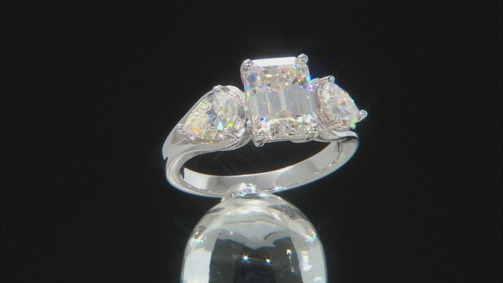 Fabulite Strontium Titanate rhodium over sterling silver ring 4.80ctw