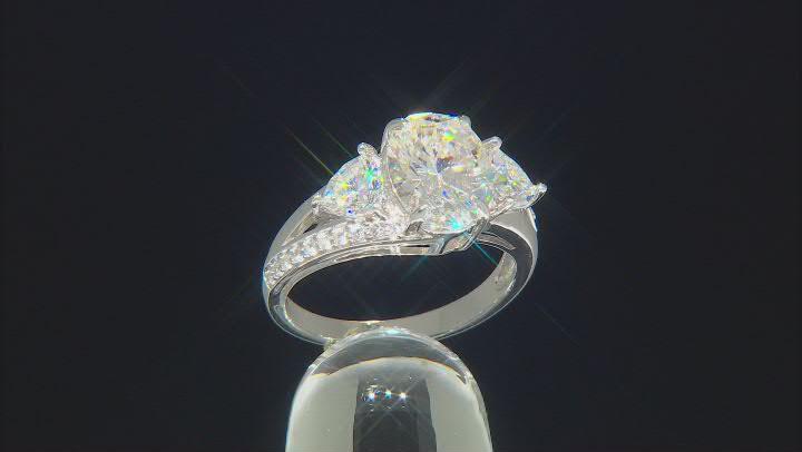 Fabulite Strontium Titanate and white zircon rhodium over sterling silver ring 4.59ctw.