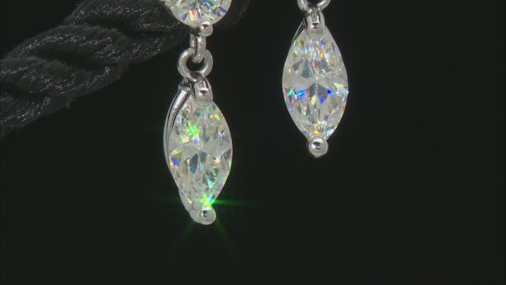 Fabulite Strontium Titanate rhodium over sterling silver earrings 1.90ctw.